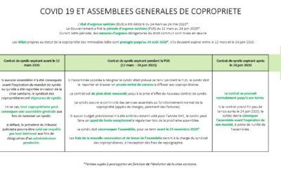 COVID 19 et Assemblées Générales de Copropriété